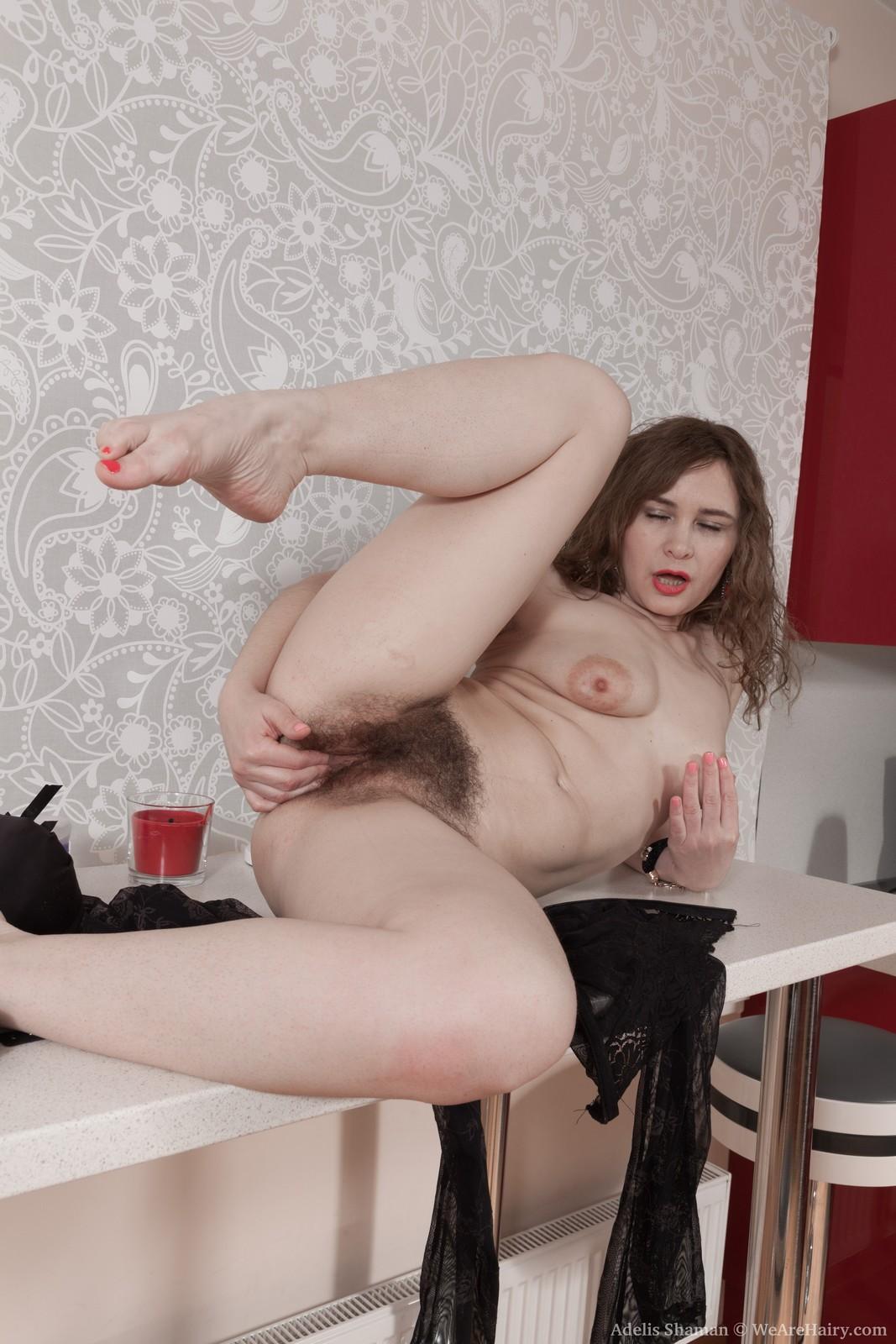 Adelis shaman masturbates on her white desk 4